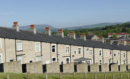 Van de rijsteen en Lei Terrasvormige Huizen Lancashire Stock Afbeeldingen