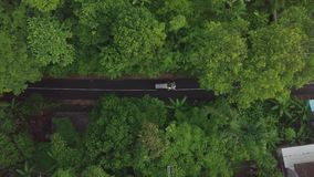 Van de satellietbeeldauto en motor het berijden in tropische weg De auto's en de motorfiets het drijven van de hommelmening op we stock video