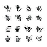 Van de schadeboodschappenwagentje en hand pictogrammen Royalty-vrije Stock Fotografie