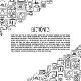 Van de schetspictogrammen van de huiselektronika de vectorbanner Stock Afbeelding