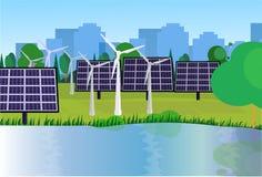 Van de de schone energiewind van het stadspark van de de turbines zonne-energie van de de panelenrivier groene het gazonbomen op  stock illustratie