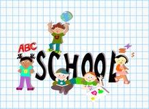 Van de school (woord) groep de diverse kinderen Stock Afbeeldingen