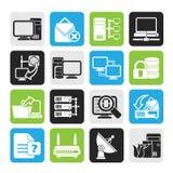 Van de silhouetcomputer het Netwerk en van Internet pictogrammen Stock Foto