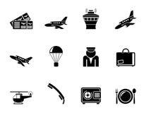 Van de silhouetluchthaven en reis pictogrammen Stock Afbeelding