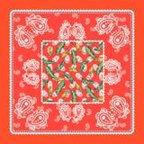 Van de sjaalpaisley van de Bandana het rode zijde vectorontwerp Stock Afbeelding