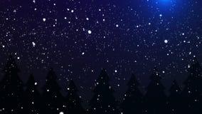 Van de sneeuw Dalende Kerstnacht Lijn Als achtergrond stock video