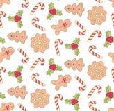 Van de de snoepjeskrabbel van Kerstmiskoekjes de pictogrammen naadloos vectorpatroon Royalty-vrije Stock Afbeelding
