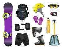 Van de Snowboardmateriaal en lawine toestellen vector illustratie