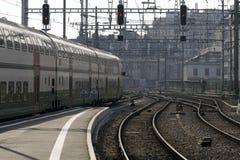 Van de spoorweg (trein) de post Stock Foto