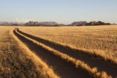 Van de sporen van de weg 4 x 4 auto in Namibië Stock Foto's