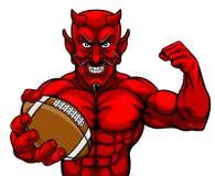 Van de de Sportenmascotte van de duivels Amerikaanse Voetbal de Holdingsbal royalty-vrije illustratie