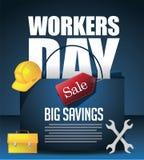 Van de 1st Dag van de Arbeidarbeiders van mei de achtergrond van de de Dagverkoop Stock Fotografie