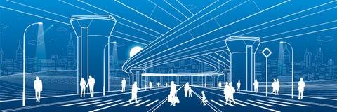 Van de stadsarchitectuur en infrastructuur illustratie, automobielviaduct, grote bruggen, stedelijke scène Mensen die bij straat  stock illustratie