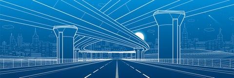 Van de stadsarchitectuur en infrastructuur illustratie, automobielviaduct, grote bruggen, stedelijke scène De stad van de nacht W vector illustratie