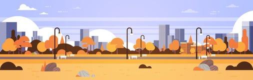 Van de stadsgebouwen van het de herfst stedelijke gele park in openlucht de straatlantaarnscityscape vlakke concepten horizontale stock illustratie