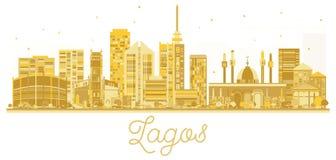 Van de de Stadshorizon van Lagos het gouden silhouet Stock Afbeelding