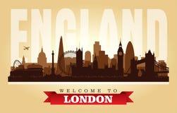 Van de de stadshorizon van Londen het Verenigd Koninkrijk het vectorsilhouet royalty-vrije illustratie