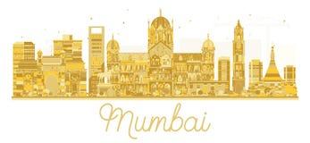 Van de de Stadshorizon van Mumbaiindia het gouden silhouet stock illustratie