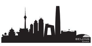 Van de de stadshorizon van Peking China het vectorsilhouet vector illustratie