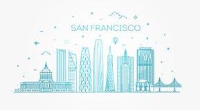 Van de de stadshorizon van San Francisco de vectorachtergrond Royalty-vrije Stock Afbeelding