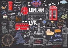 Van de stadskrabbels van Londen de elementeninzameling Royalty-vrije Stock Afbeeldingen