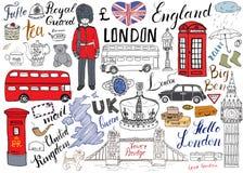 Van de stadskrabbels van Londen de elementeninzameling Hand getrokken reeks met, torenbrug, kroon, de Big Ben, koninklijke wacht, Stock Afbeelding