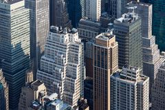 Van de Stadsmanhattan van New York de wolkenkrabbers luchtmening in de ochtend Royalty-vrije Stock Afbeeldingen