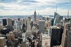 Van de Stadsmanhattan van New York uit het stadscentrum de gebouwenhorizon Stock Foto's