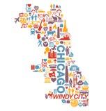 Van de stadspictogrammen en aantrekkelijkheden van Chicago Illinois kaart Stock Foto's