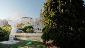 Van de de stadsstad van Monaco van de de straatpalm van Monte Carlo zonnig de dagcasino stock videobeelden