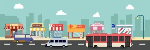 Van de stadsstraat en opslag gebouwen met bus, minibus op straat vectorillustratie, een vlak stijlontwerp stock illustratie