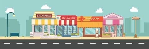Van de stadsstraat en opslag gebouwen vectorillustratie, een vlak stijlontwerp Zaken storefront in stedelijk stock illustratie