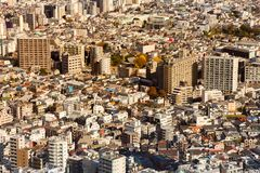 Van de de stadswoonplaats van Tokyo luchtmening de van de binnenstad Stock Afbeelding