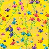 Van de de stamvlinder van de vogelbloem kleurrijk de keuken geel naadloos patroon stock illustratie