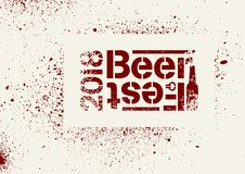 Van de de stencilnevel van bierfest 2018 het typografische ontwerp van de de stijlaffiche grunge Retro vectorillustratie Stock Afbeeldingen