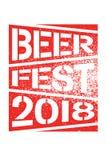 Van de de stencilnevel van bierfest 2018 het typografische ontwerp van de de stijlaffiche grunge Retro vectorillustratie Stock Foto's