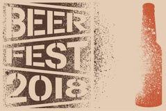 Van de de stencilnevel van bierfest 2018 het typografische ontwerp van de de stijlaffiche grunge Retro vectorillustratie Royalty-vrije Stock Afbeeldingen