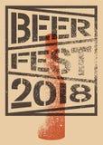 Van de de stencilnevel van bierfest 2018 het typografische ontwerp van de de stijlaffiche grunge Retro vectorillustratie Stock Foto