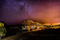 Van de Sterrenmikly van de nachtmening de Manier Copacabana Bolivië Royalty-vrije Stock Fotografie