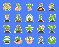 Van de stickerpictogrammen van het spruit de kleurrijke flard vectorreeks royalty-vrije illustratie