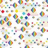 Van de stijl het vrije Japan van de regenboogdiamant van de de wolkenlijn naadloze patroon royalty-vrije illustratie