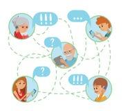 Van de stijlmensen van de familieillustratie vlakke de gezichten online sociale media mededelingen vector illustratie