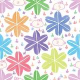Van de de stijlwaterverf van Japan van het zes grassenkonijn van het sterblad het naadloze patroon royalty-vrije illustratie