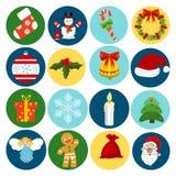Van de de stijlwinter van Kerstmispictogrammen de vlakke van de de decoratievakantie reeks van de de vieringsgift Vector illustra Stock Afbeelding