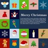 Van de de stijlwinter van Kerstmispictogrammen de vlakke van de de decoratievakantie reeks van de de vieringsgift Vector illustra Stock Fotografie