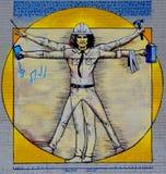 Van de straatkunst de moderne Vitruvian mens van Montreal stock afbeelding