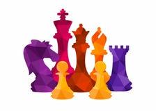 Van de stukkentoernooien van schaak kleurrijke cijfers het spel vectorillustratie royalty-vrije illustratie