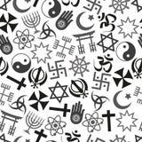 Van de symbolen het vectorpictogrammen van wereldgodsdiensten grijze naadloze patroon eps10 Stock Foto's