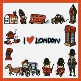 Van de Symbolenelementen van Londen de Krabbel Vectorillustratie Royalty-vrije Stock Fotografie