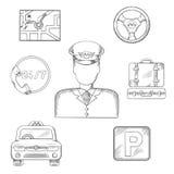 Van de taxibestuurder en dienst pictogrammen, schets Stock Foto